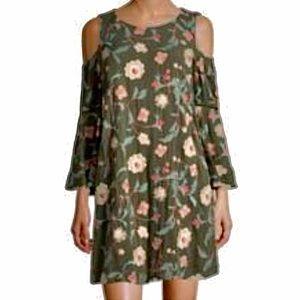 Luxology Embroidered Floral Cold Shoulder Dress